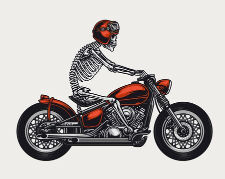 Illustration pour Colorful motorcycle vintage concept with skeleton in biker helmet and goggles riding motorbike isolated vector illustration - image libre de droit