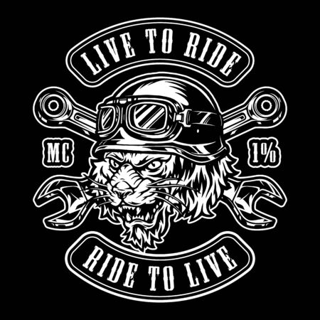 Illustration pour Animal moto rider vintage emblem with crossed spanners and ferocious tiger head in biker helmet isolated vector illustration - image libre de droit