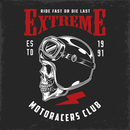 Illustration pour Motoracers club vintage print with skull in moto helmet and goggles isolated vector illustration - image libre de droit