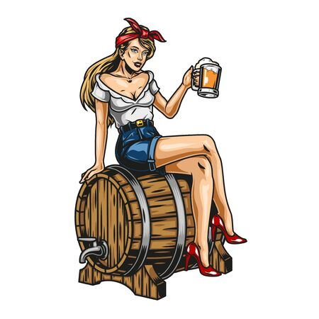 Ilustración de Vintage beer colorful concept with beautiful pin up girl holding mug of foamy drink and sitting on wooden barrel isolated vector illustration - Imagen libre de derechos