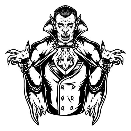 Illustration pour Scary vampire character vintage concept in monochrome style isolated vector illustration - image libre de droit