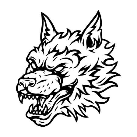 Illustration pour Aggressive scary wolf head tattoo concept in vintage style and black and white colors isolated vector illustration - image libre de droit