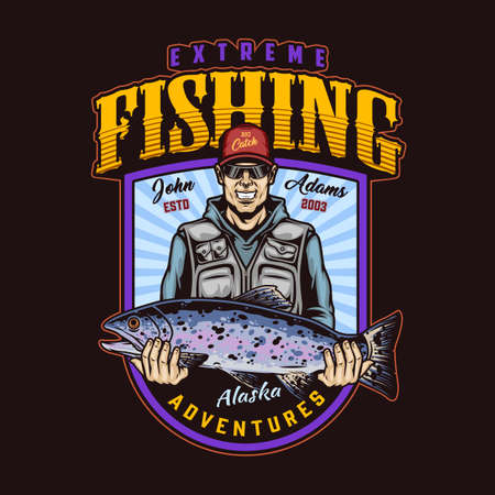 Illustration for Extreme fishing colorful vintage badge with smiling fisherman in baseball cap and sunglasses holding big rainbow trout isolated vector illustration - Royalty Free Image