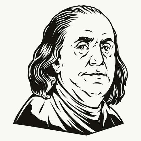 Illustration pour Benjamin Franklin portrait - image libre de droit