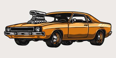 Illustration pour Orange custom muscle car vintage template - image libre de droit