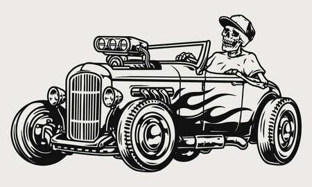 Illustration pour Custom racing car vintage monochrome concept - image libre de droit