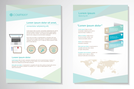 Ilustración de Template vector design for Brochure, Annual Report, Magazine, Poster, Corporate Presentation, Portfolio, Flyer, layout modern with blue color size A4, Front and back, Easy to use and edit. - Imagen libre de derechos