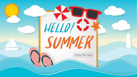 Ilustración de Summer Beach Party Design with template on ocean landscape background. Flat vector web banner on the theme of travel - Imagen libre de derechos