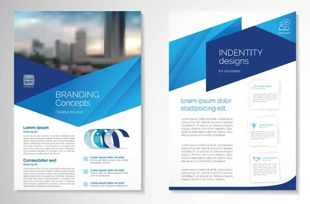 Illustration pour Template vector design for Brochure, Annual Report, Magazine, Poster, Corporate Presentation, Portfolio, Flyer, infographic, layout modern with blue color size A4, Front and back, Easy to use and edit. - image libre de droit