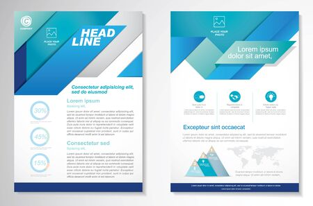 Illustration pour Vector Brochure Flyer design Layout template, size A4, Front page and back page, infographics. Easy to use and edit. - image libre de droit