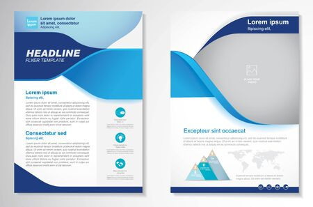 Illustration for Template vector design for Brochure, AnnualReport, Magazine, Poster, Corporate Presentation, Portfolio, Flyer, infographic, layout modern with blue color size A4, Front and back, Easy to use and edit. - Royalty Free Image