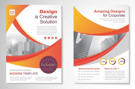 Illustration pour Template vector design for Brochure, Annual Report, Magazine, Poster, Corporate Presentation, Portfolio, Flyer, layout modern with Orange color size A4, Front and back, Easy to use and edit. - image libre de droit