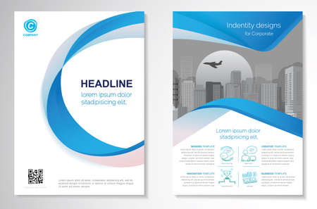 Illustration pour Template vector design for Brochure, AnnualReport, Magazine, Poster, Corporate Presentation, Portfolio, Flyer, infographic, layout modern with blue color size A4, Front and back, Easy to use and edit. - image libre de droit