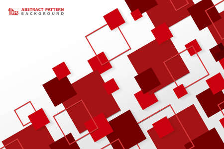 Illustration for Abstract technology modern red square geometric pattern background. You can use for ad, poster, corporate presentation, annual report, cover design. illustration vector eps10 - Royalty Free Image
