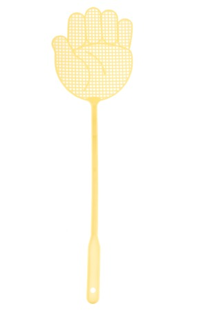 One yellow fly swatter on white background