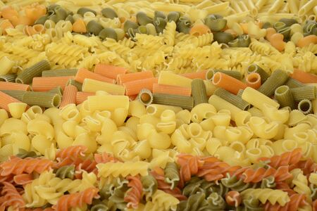 Different varieties of pasta into strips