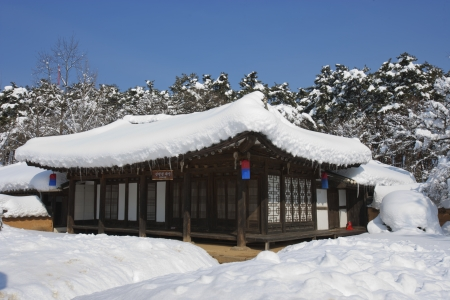 Beautiful landscape in South Korea,Traditional houses snowy