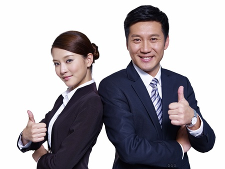 asian businessman and businesswoman standing back to back, thumbs up