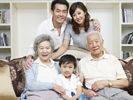portrait of a three-generation asian family