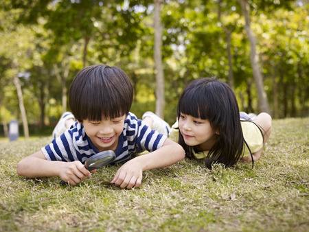 Photo pour little asian boy and girl using magnifier to study grass and leaves in a park. - image libre de droit