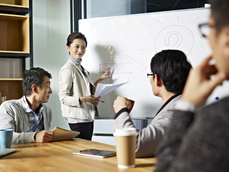 Foto de young asian business executive facilitating a discussion or brainstorm session in meeting room. - Imagen libre de derechos