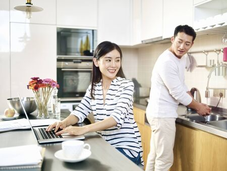 Photo for young asian business woman working from home - Royalty Free Image
