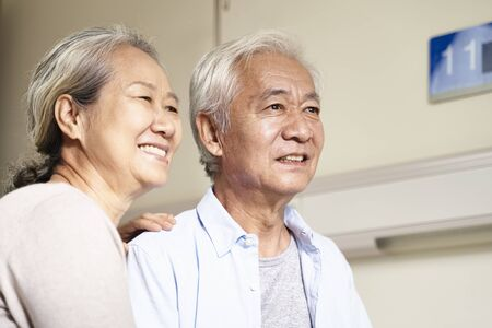 Photo for portrait of asian old couple  in hospital ward - Royalty Free Image