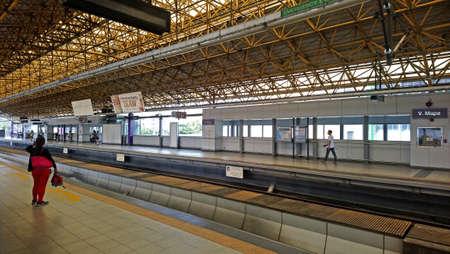 MANILA, PH - JAN 2 - Light rail transit 2 V. Mapa station platform on January 2, 2017 in Manila, Philippines.