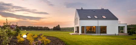 Photo for External view of modern and beautiful home with large backyard, panorama - Royalty Free Image