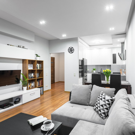 Photo for Light and spacious flat in new style with large sofa, dining set and open kitchen - Royalty Free Image