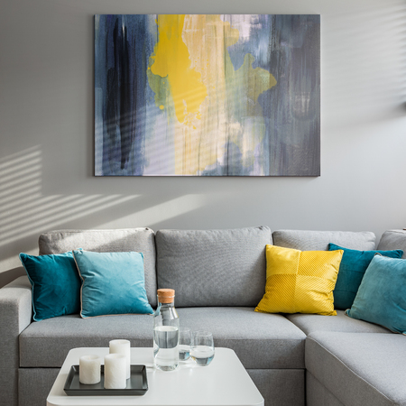 Photo for Living room with corner sofa, colorful cushions and white coffee table - Royalty Free Image