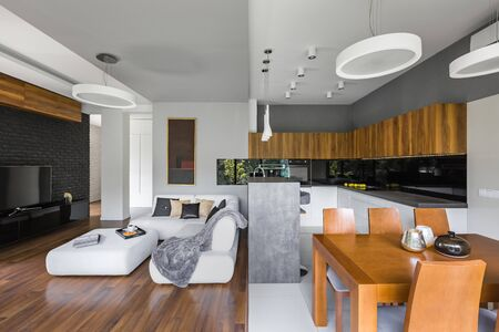 Photo for Elegant interior of living room with kitchen and dining area - Royalty Free Image