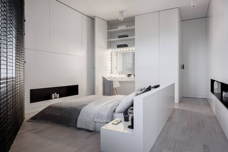 Photo pour Elegant, white bedroom with big bed and stylish dressing table with light bulbs around mirror - image libre de droit