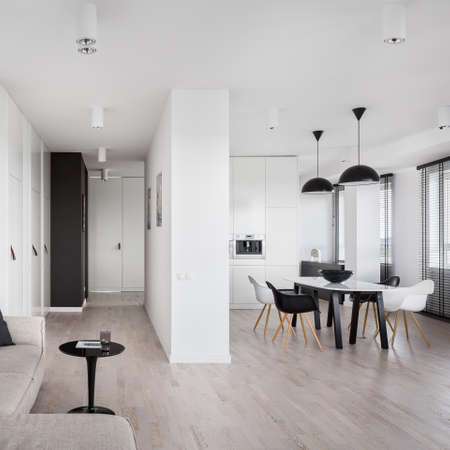 Photo pour Spacious apartment in black and white with kitchen open to living room and corridor - image libre de droit