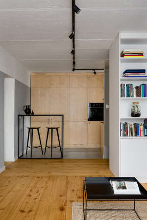 Photo pour Small and stylish apartment with pine wood floor and exposed concrete on walls and ceiling - image libre de droit