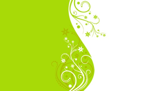 Green and white flower vector background