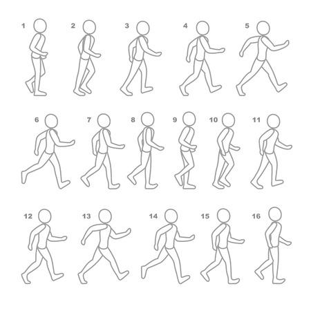 Phases of Step Movements Man in Walking Sequence for Game Animation.