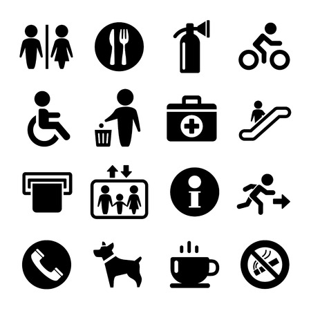 International Service Signs icon set: exit wc cafe, information