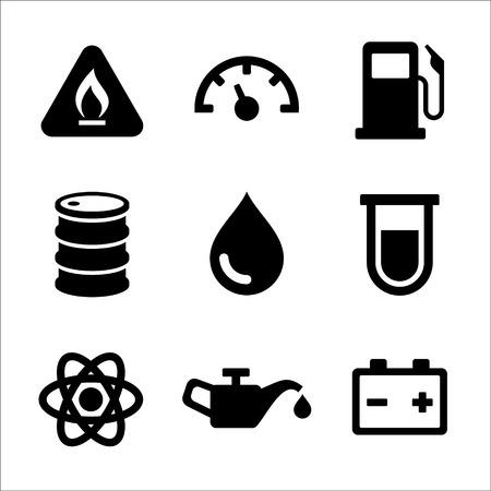 Gasoline Diesel Fuel Service Station Icons Set  Vector illustration