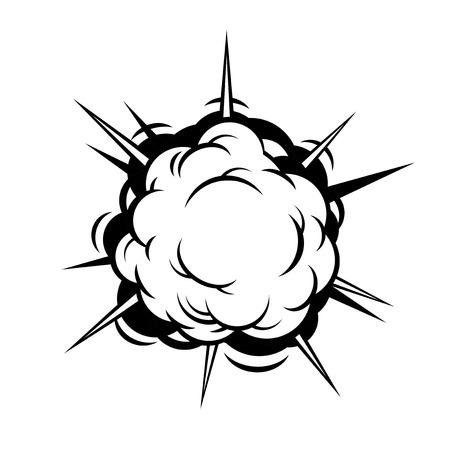 Comic Boom. Black Explosion on White Background. Vector illustration