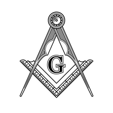 Masonic Freemasonry Emblem Icon Logo. Vector illustration
