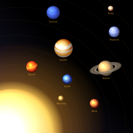 Solar System with Sun and Planets on Dark Background. Vector