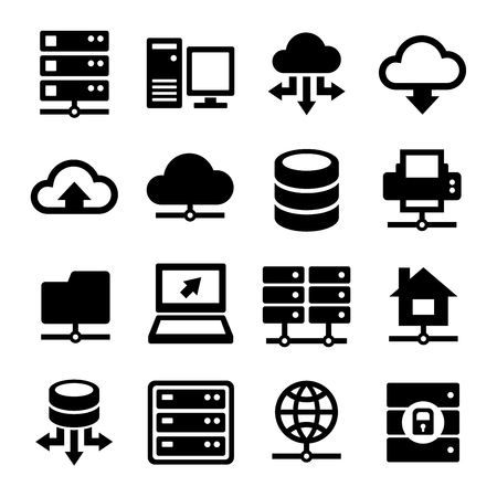 Big Data Center and Server Icons Set. Vector illustration