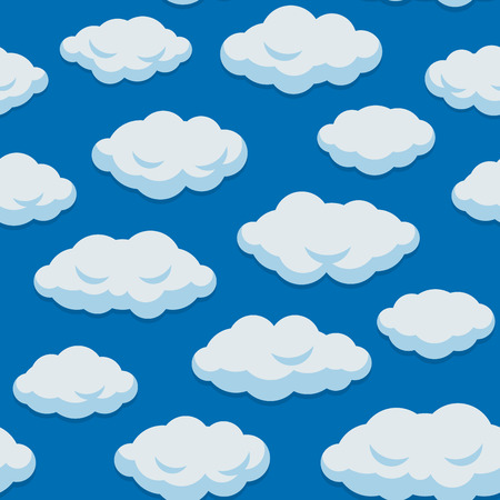Illustration for Seamless Cloud Pattern With Blue Sky Background. Vector illustration - Royalty Free Image