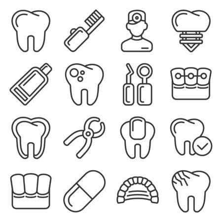 Illustration pour Dental Icons Set on White Background. Line Style Vector - image libre de droit