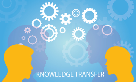 Illustration pour Vector illustration. Knowledge Transfer Concept. Two head silhouette of man and woman sharing knowledge, idea, gear symbol, technology, future over blue background - image libre de droit