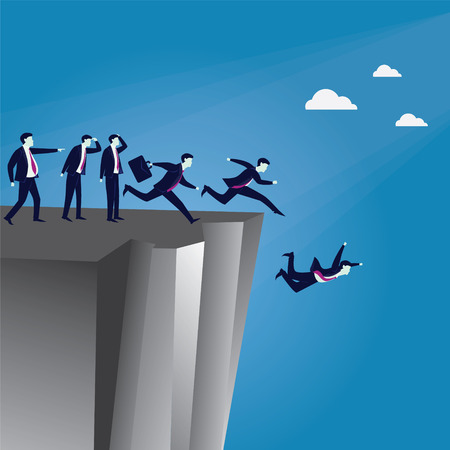 Illustration pour Vector illustration. Bad business Leadership concept. A Leader pointing wrong direction and make his employees running in confusion and falling down the cliff - image libre de droit