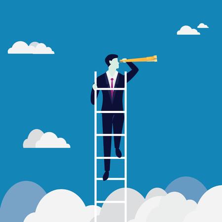 Illustration pour Business Vision Concept. Climbing Ladder Looking Opportunity - image libre de droit