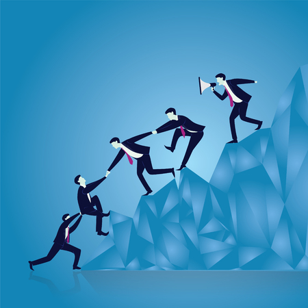 Vector illustration. Business teamwork leadership concept. Businessmen working together, helping each other to climb mountain cliff of success. Leader motivating his team to work hard for top position
