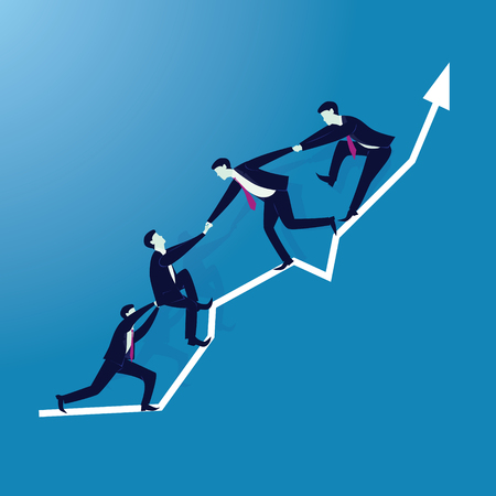 Vector illustration. Business teamwork concept. Businessmen working together, helping each other to climb arrow of success. Team of people work hard to reach top position
